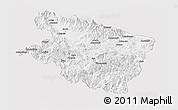 Silver Style Panoramic Map of Eastern Highlands, single color outside