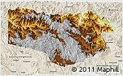 Physical 3D Map of Enga, shaded relief outside