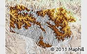 Physical Map of Enga, lighten