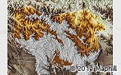 Physical Map of Enga, semi-desaturated