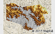 Physical Map of Enga, shaded relief outside