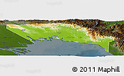 Physical Panoramic Map of Gulf, darken