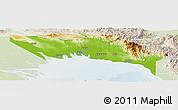 Physical Panoramic Map of Gulf, lighten
