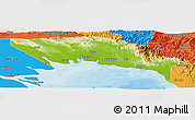 Physical Panoramic Map of Gulf, political outside