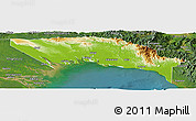 Physical Panoramic Map of Gulf, satellite outside
