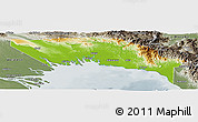 Physical Panoramic Map of Gulf, semi-desaturated
