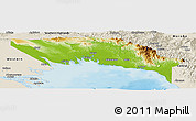 Physical Panoramic Map of Gulf, shaded relief outside