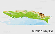 Physical Panoramic Map of Gulf, single color outside