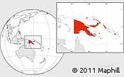 Blank Location Map of Papua New Guinea, highlighted continent