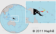 Flag Location Map of Papua New Guinea, gray outside