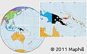 Flag Location Map of Papua New Guinea, political outside