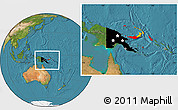 Flag Location Map of Papua New Guinea, satellite outside