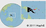 Flag Location Map of Papua New Guinea, savanna style outside