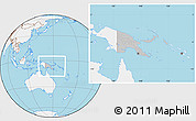 Gray Location Map of Papua New Guinea, lighten, land only