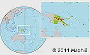 Physical Location Map of Papua New Guinea, gray outside