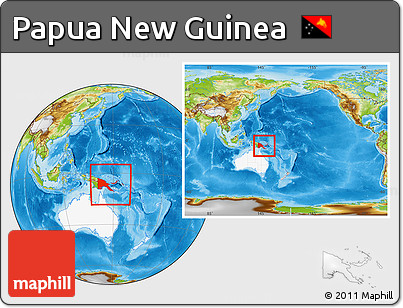 Physical Location Map of Papua New Guinea, highlighted continent, within the entire continent