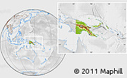 Physical Location Map of Papua New Guinea, lighten, desaturated