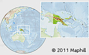Physical Location Map of Papua New Guinea, lighten