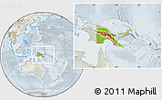 Physical Location Map of Papua New Guinea, lighten, semi-desaturated