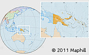 Political Location Map of Papua New Guinea, lighten, land only