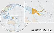 Political Location Map of Papua New Guinea, lighten, semi-desaturated