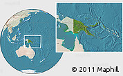 Satellite Location Map of Papua New Guinea, lighten, land only