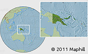 Satellite Location Map of Papua New Guinea, savanna style outside, hill shading