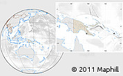 Shaded Relief Location Map of Papua New Guinea, lighten, desaturated