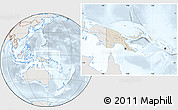 Shaded Relief Location Map of Papua New Guinea, lighten, semi-desaturated