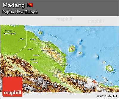 Physical 3D Map of Madang