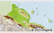 Physical 3D Map of Madang, lighten