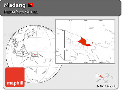 Blank Location Map of Madang