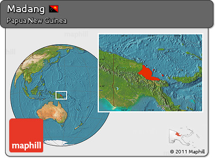 Satellite Location Map of Madang