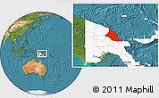 Satellite Location Map of Madang, highlighted country