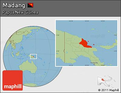 Savanna Style Location Map of Madang