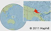 Savanna Style Location Map of Madang, hill shading