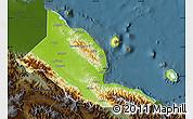 Physical Map of Madang, darken