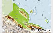 Physical Map of Madang, lighten