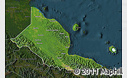 Satellite Map of Madang, darken