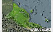 Satellite Map of Madang, semi-desaturated