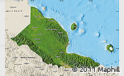 Satellite Map of Madang, shaded relief outside