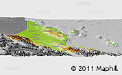 Physical Panoramic Map of Madang, desaturated