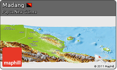 Physical Panoramic Map of Madang