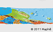Physical Panoramic Map of Madang, political outside