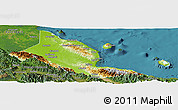 Physical Panoramic Map of Madang, satellite outside