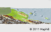 Physical Panoramic Map of Madang, semi-desaturated