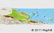 Physical Panoramic Map of Madang, shaded relief outside