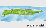 Physical Panoramic Map of Manus, single color outside