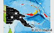Flag Map of Papua New Guinea, physical outside