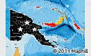 Flag Map of Papua New Guinea, political shades outside